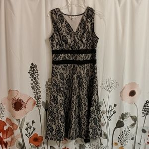 Pretty lace overlay A-line dress